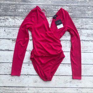 TOPSHOP Ribbed Surplice Bodysuit